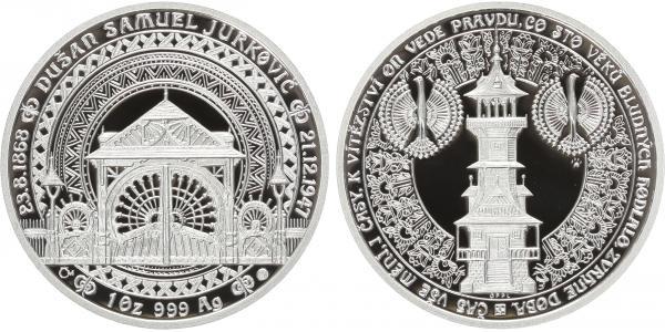 AR Medaile b.l. - 60 let od úmrtí Dušana Samuela Jurkoviče, PROOF