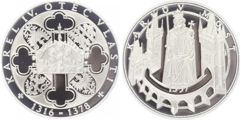 AR Medaile b.l. - Život Karla IV. - Karlův most., PROOF