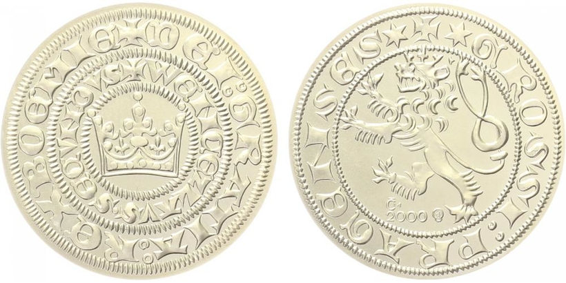 AR Medaile 2000 - replika Pražského groše Václava II., běžná kvalita