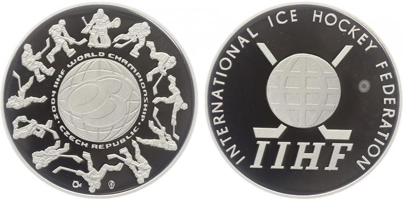 AR Medaile 2004 - Mistrovství světa v ledním hokeji 2004, etue a certifikát, Ag 34 mm