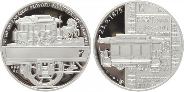 AR Medaile b.l. - 135 let zahájení provozu první pražské tramvaje - tzv. koňka, Ag 0,