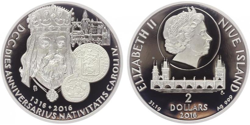 Stříbrná medaile 2016 - 700. výročí narození Karla IV., PROOF