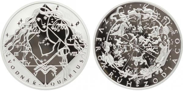 AR Medaile - Znamení zvěrokruhu - Vodnář, Ag 0,999, 34 mm (16 g), plastová bublina. c