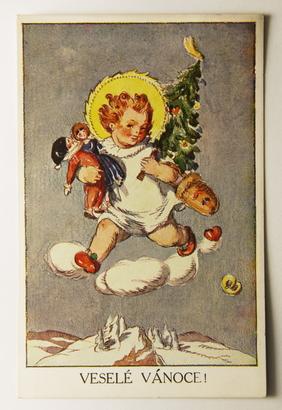 Sváteční, přání - Zvony, Vánoce 1908