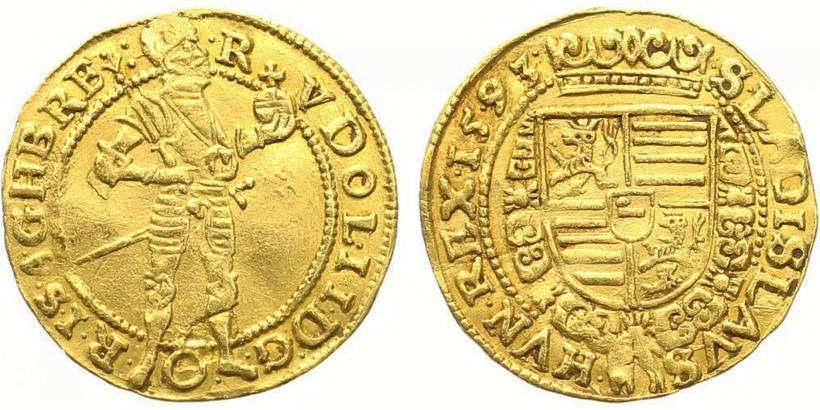 Rudolf II. - Dukát 1593, Vídeň - Hübmer