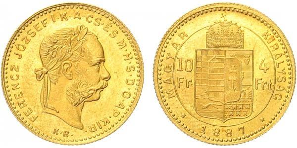 František Josef I., 4 Forint 1887 K.B.