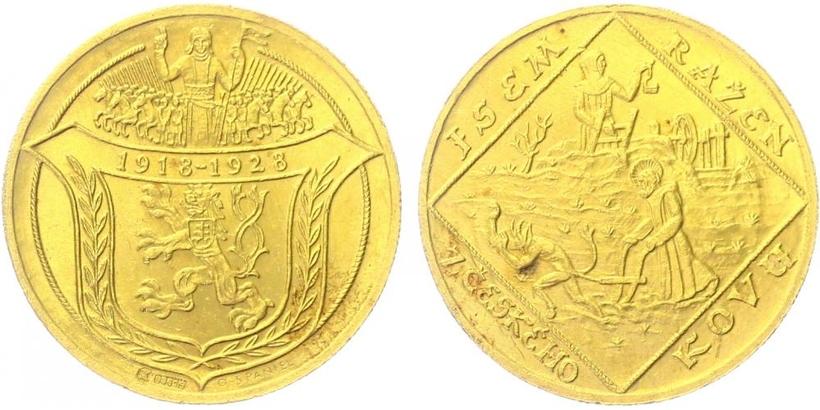 4 Dukát 1928 (O. Španiel) - 10. výročí vzniku ČSR - Jsem ražen z českého kovu