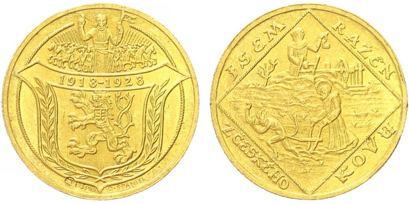 2 Dukát 1928 (O. Španiel) - 10. výročí vzniku ČSR - Jsem ražen z českého kovu