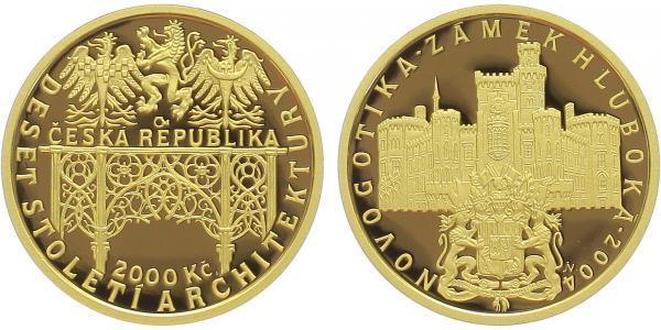 2000 Kč 2004 - Novogotika - zámek Hluboká, PROOF