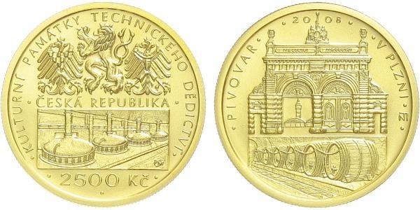 2500 Kč 2008 - Pivovar v Plzni, běžná kvalita