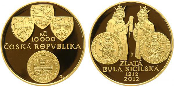 10000 Kč 2012 - Zlatá bula sicilská, PROOF + DÁREK