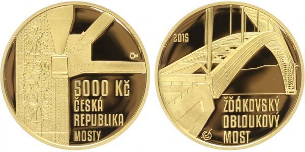 5000 Kč 2015 - Žďákovský obloukový most, PROOF