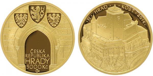 5000 Kč 2016 - Hrad Kost, Au 0,9999, PROOF