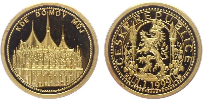 AR Medaile 1997 - Kde domov můj - Kutná Hora, PROOF