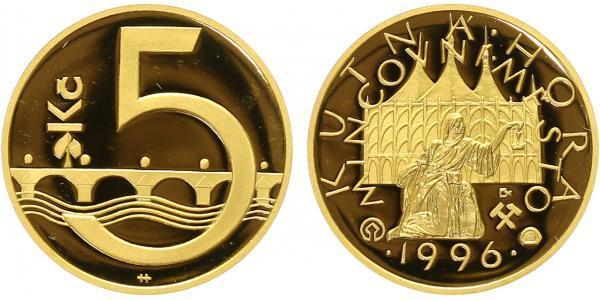 Medaile 1996 - Motiv 5 koruny / Kutná Hora - mincovní město, Au 0,9999, PROOF