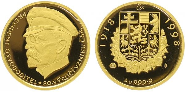 Medaile 1998 - 80. výročí Československa - T.G.Masaryk, PROOF