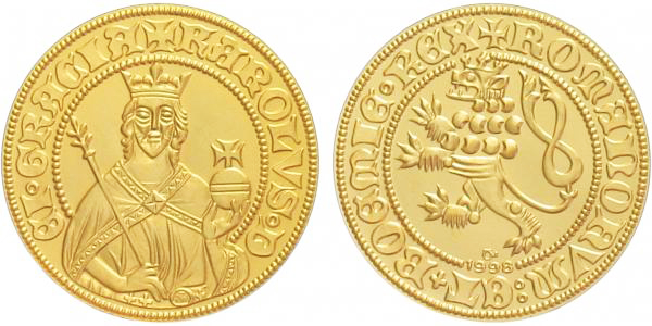 Medaile - Replika dukátu Karla IV., PROOF