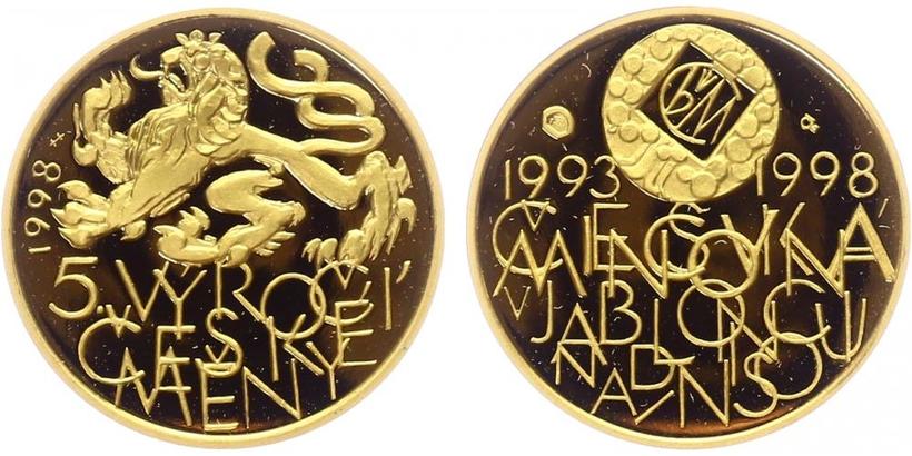 Medaile 1998 - 5. výročí České mincovny a české měny, PROOF