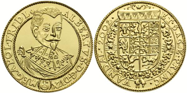 Dukát 2002 - Albrecht z Valdštejna, Au 0,986 (3,49 g), běžná kvalita