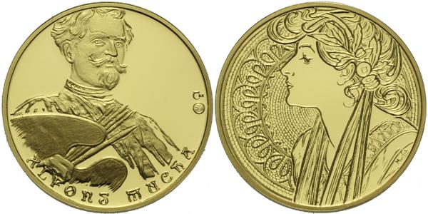 Medaile 2005 - Alfons Mucha, Au 0,9999, 22 mm (7,78 g), 1/4 Oz, etue a cerifikát, PRO