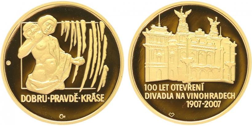 Medaile 2007 - 100 let divadla na Vinohradech, PROOF, číslo 105