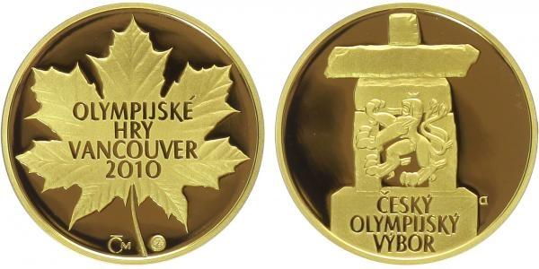 Medaile 2010, Zimní olympijské hry Vancouver, Au 0,9999, 22 mm (7,78 g), 1/4 Oz., etu