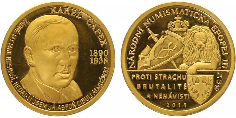 Číslovaná medaile 2011 - Karel Čapek - Národní numismatická epopej, PROOF