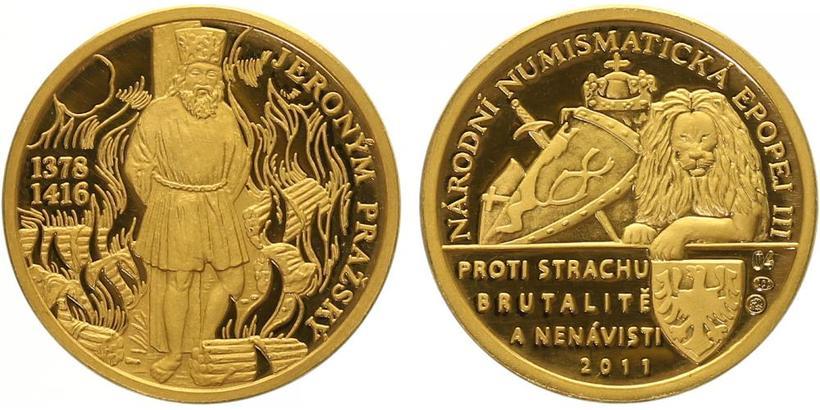 Číslovaná medaile 2011 - Jeroným Pražský - Národní numismatická epopej, PROOF