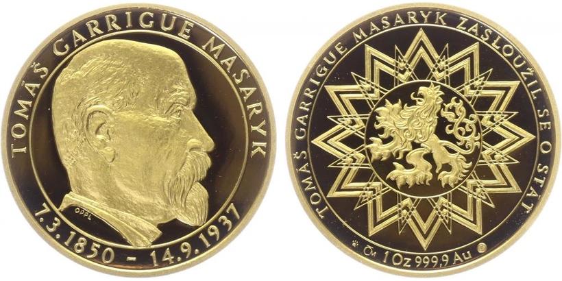 Medaile b.l. - Tamáš Garrigue Masaryk - 70 let od úmrtí, PROOF