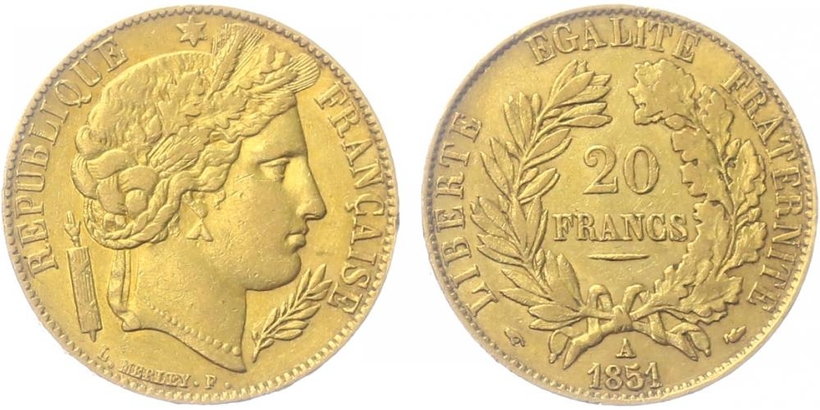 20 Frank 1851 A, Paříž