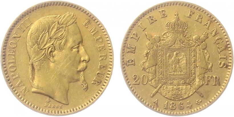 20 Frank 1864 A, Paříž