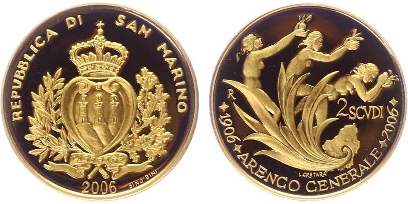 2 Scudi 2006 - 100 let Arengo generale, PROOF