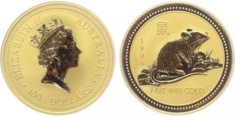 100 Dolar 1996 - Lunární znamení - Rok krysy