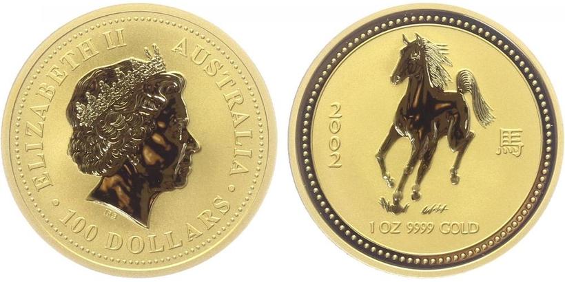 100 Dolar 2002 - Lunární znamení - Rok koně