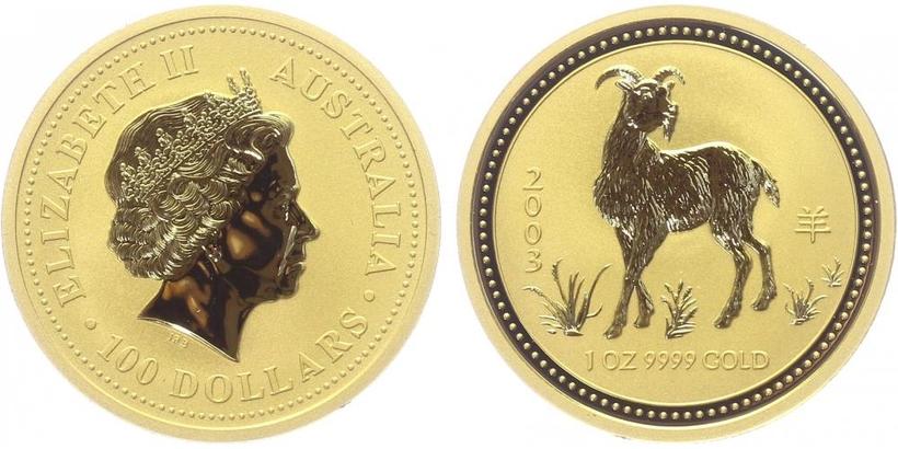 100 Dolar 2003 - Lunární znamení - Rok kozy