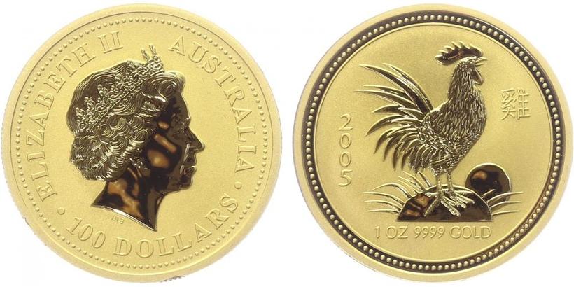 100 Dolar 2005 - Lunární znamení - Rok kohouta