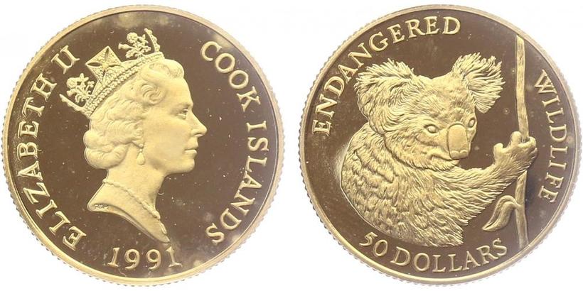 Kookovy ostrovy - 50 Dollar 1991, PROOF
