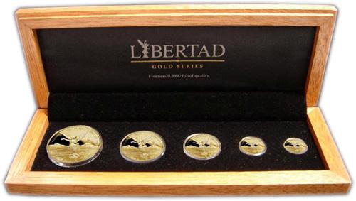Sada 5 kusů mexických mincí - Libertad, PROOF