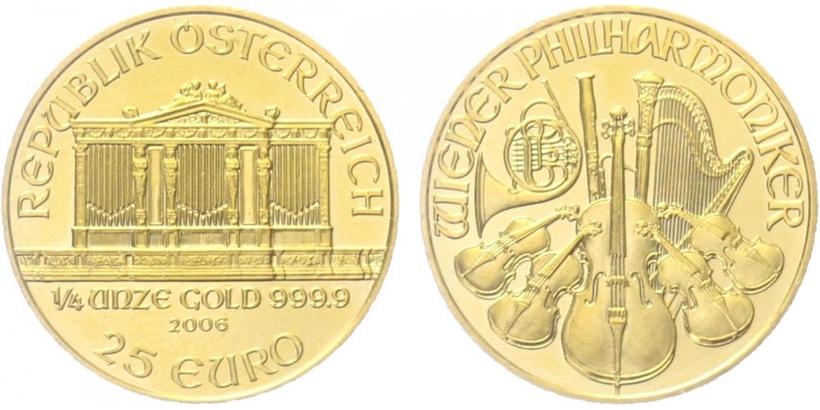 10 Euro 2006 - Vídeňská filharmonie, Au 0,986 (3,11 g), 1/10 Oz.