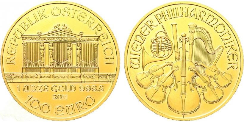100 Euro 2011 - Vídeňská filharmonie, Au 0,9999 (31,101 g), 1 OZ
