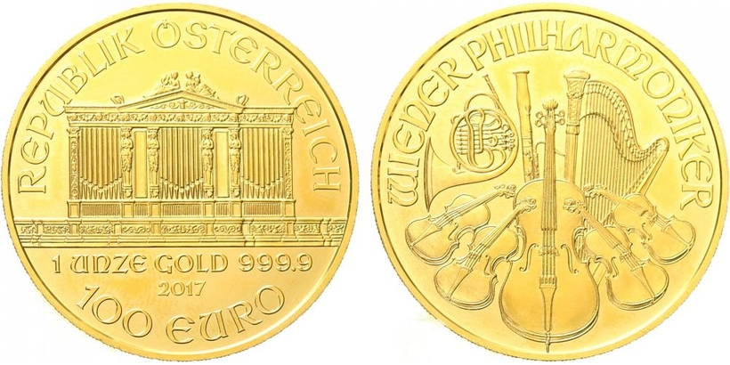 100 Euro 2017 - Vídeňská filharmonie, Au 0,9999 (31,101 g), 1 OZ