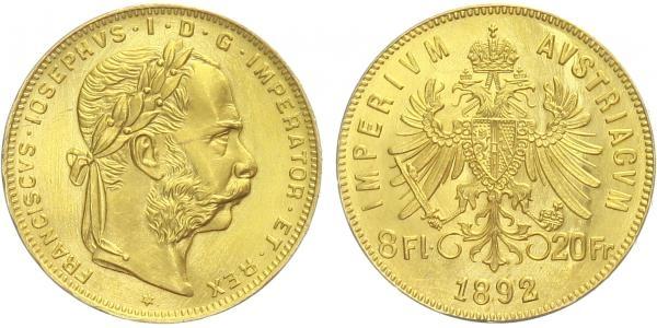Rakousko - Uhersko, 8 Gulden / 20 Frank 1892 - novoražba, Au 0,900 (6,452 g)