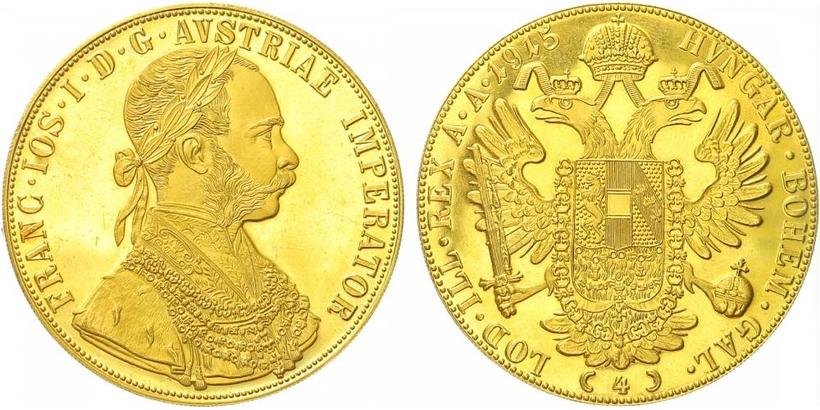 Rakousko - Uhersko, 4 Dukát 1915 - novoražba, Au 0,986 (13,96 g)