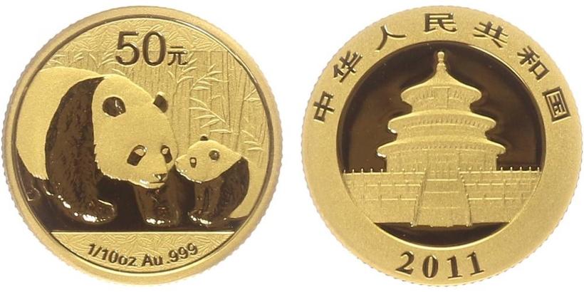 Čína, 50 Yuan 2011 - Zlatá panda, PROOF