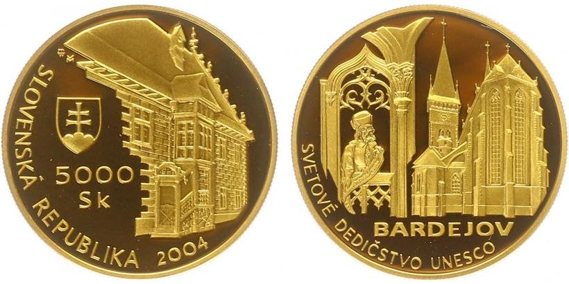 5000 Sk 2004 - Světové dědictví - UNESCO, Bardejov, PROOF