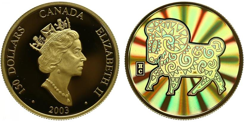 Kanada, 150 Dollar 2003 - Mezinárodní rok ovcí, revers zlatá inlej,  PROOF