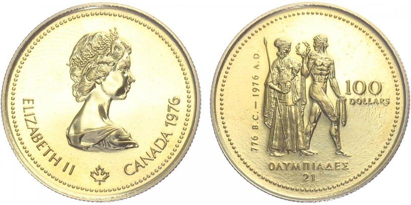 Kanada, 100 Dollar 1976 - Olympiáda, běžná kvalita
