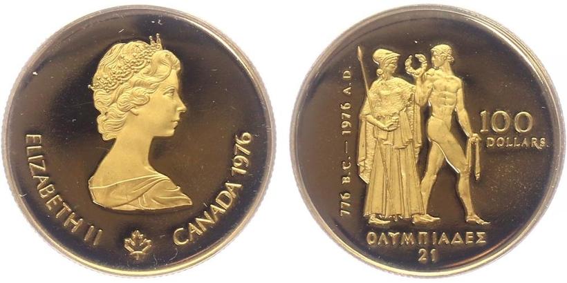 Kanada, 100 Dollar 1976 - Olympiáda, PROOF