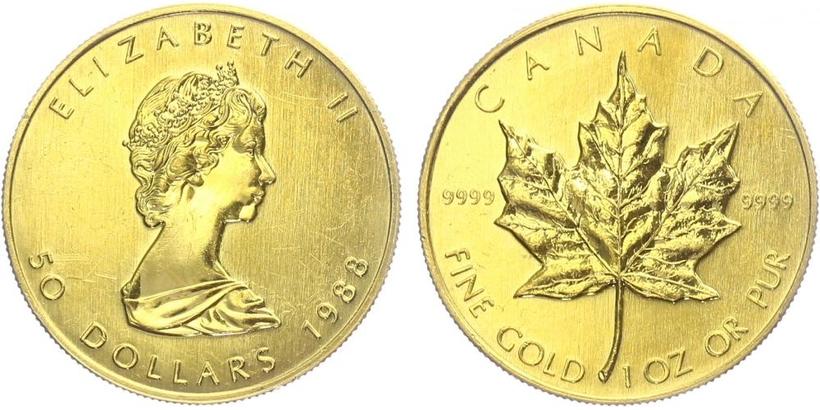 Kanada, 50 Dollar 1988, běžná kvalita