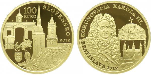 100 EURO 2012 - Bratislavská korunovace - 300. výročí korunovace Karla III., PROOF